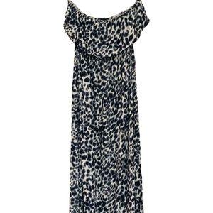 Animal Print Strapless Maxi Dress